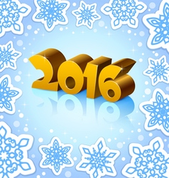 Golden year 2016 on blue background vector