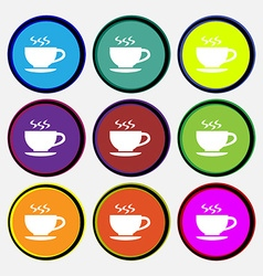 The tea and cup icon sign nine multi colored round vector
