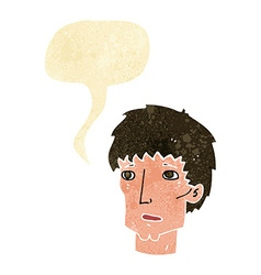 Cartoon worried man with speech bubble vector