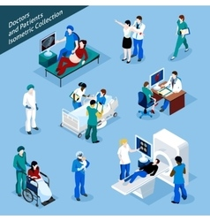 Doctor and patient isometric people icon set vector