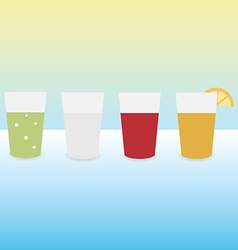 Drinks in the glasses in a flat style with shadow vector