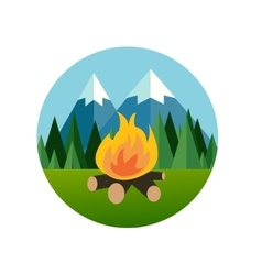 Camp fire in forest mountain flat icon pine tree vector