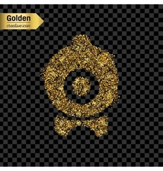 Gold glitter icon of webcam isolated on vector