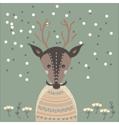 a deer in sweater vector image