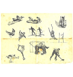 A large collection of winter sports vector