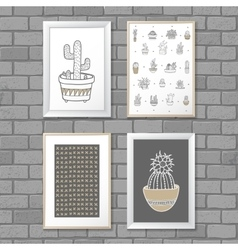 Art painting with cactus in frame abstract vector