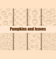 autumn set of seamless pattern with pumpkins vector image vector image