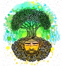 Bearded man protect the environment vector image vector image