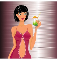 beautiful girl with a cocktail vector image