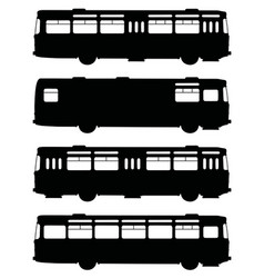 Black silhouettes of retro buses vector