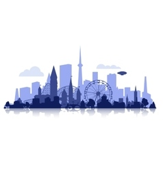 City silhouette with rollercoaster vector