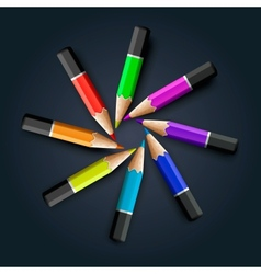 Colored pencils on grey background vector image vector image