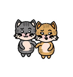 Cute couple cat wild animal with beautiful vector
