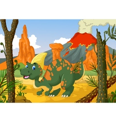 cute parasaurolophus cartoon with volcano vector image vector image