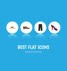 Flat icon clothes set of heeled shoe male vector