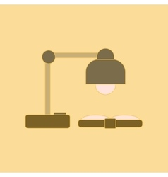flat icon with thin lines lamp book vector image