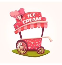 flat of Ice Cream cart vector image