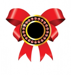 golden label with red ribbon vector image vector image