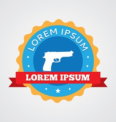 Gun vintage badge label icon vector