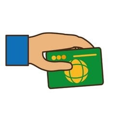 Hand human with credit card vector