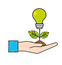 Hand with energy bulb plant with leaves and ground vector