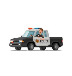 Happy sheriff rides in car police pickup truck vector