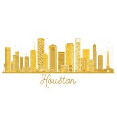 houston usa city skyline golden silhouette vector image