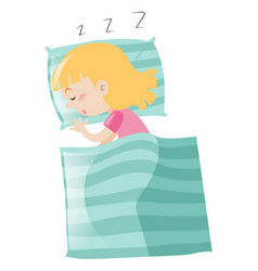 little girl sleeping on pillow vector image
