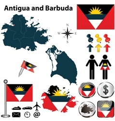 Map of antigua and barbuda vector