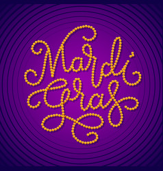 Mardi gras lettering consist of gold beads on dark vector