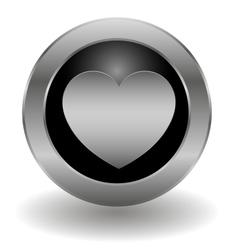 Metallic heart button vector image vector image