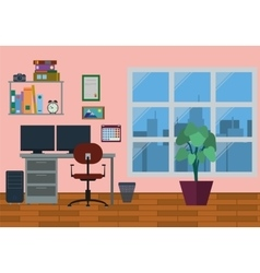 Modern Home Office Interior vector image