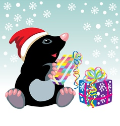 Mole with christmas gifts vector