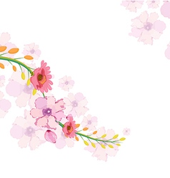 Painted watercolor card with orchid vector