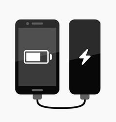 Phone power bank charging vector