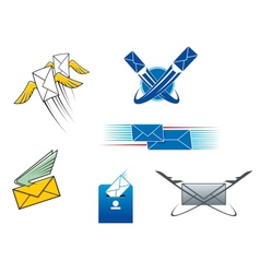 Post mail and letters symbols vector image vector image