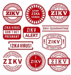Red and white zika virus stamps vector