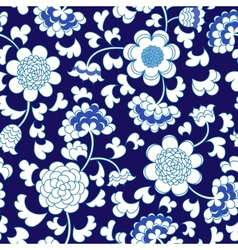 seamless blue floral porcelain china background vector image vector image