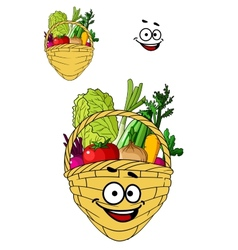 Shopping basket with healthy groceries vector image