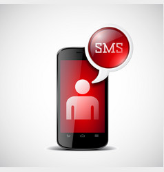 smartphone with chat box vector image vector image