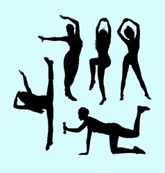 sport girls activity silhouette vector image vector image