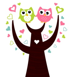 Two cute owls sitting on love tree vector image