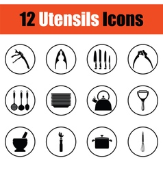 Utensils icon set vector