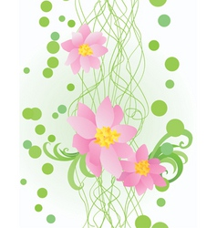 vector pink flowers on ornate green background vector image