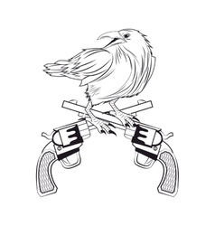 Eagle gun tattoo animal design vector