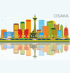 Osaka skyline with color buildings blue sky and vector
