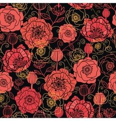 Red and black poppy flowers seamless pattern vector
