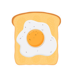 Fried egg on baked toast bread flat style vector