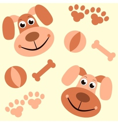 Seamless background with dogs paws and bones vector