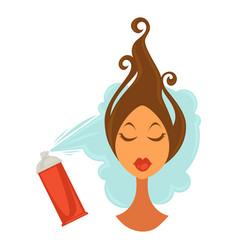 woman applying hair spray vector image